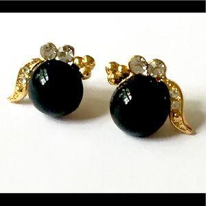 Black gold Stud Earrings Rhinestone
